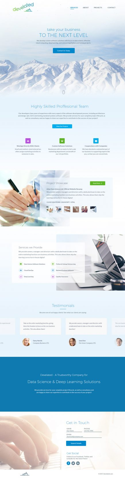 Develated - Web Design